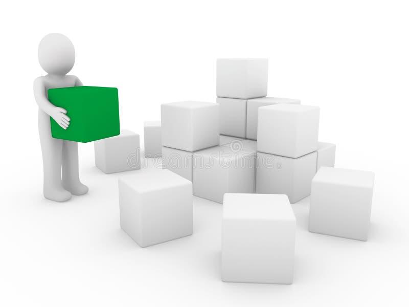 bianco umano di verde del contenitore di cubo 3d illustrazione di stock