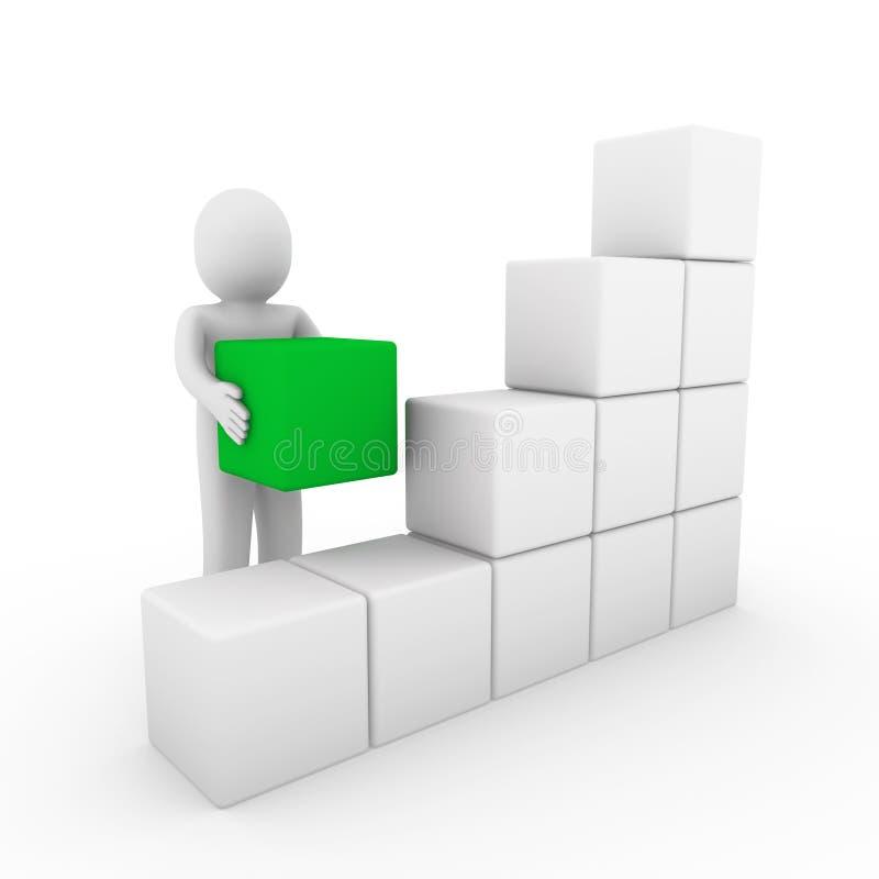 bianco umano di verde del contenitore di cubo 3d illustrazione vettoriale