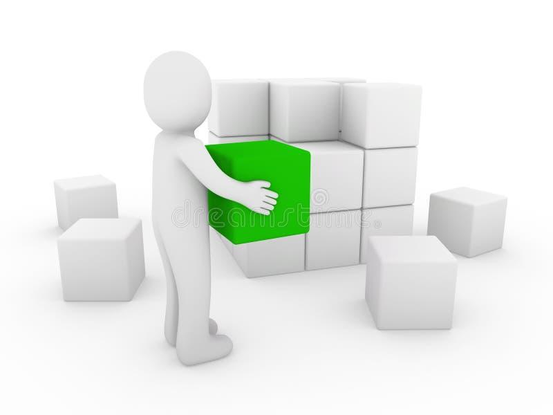 bianco umano di verde del cubo 3d illustrazione di stock