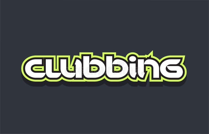 bianco verde blu di progettazione di logo del testo di parola di clubbing illustrazione vettoriale