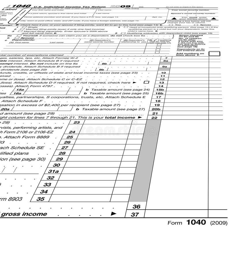 In bianco vuoto del modulo 1040, tasse, fotografia stock