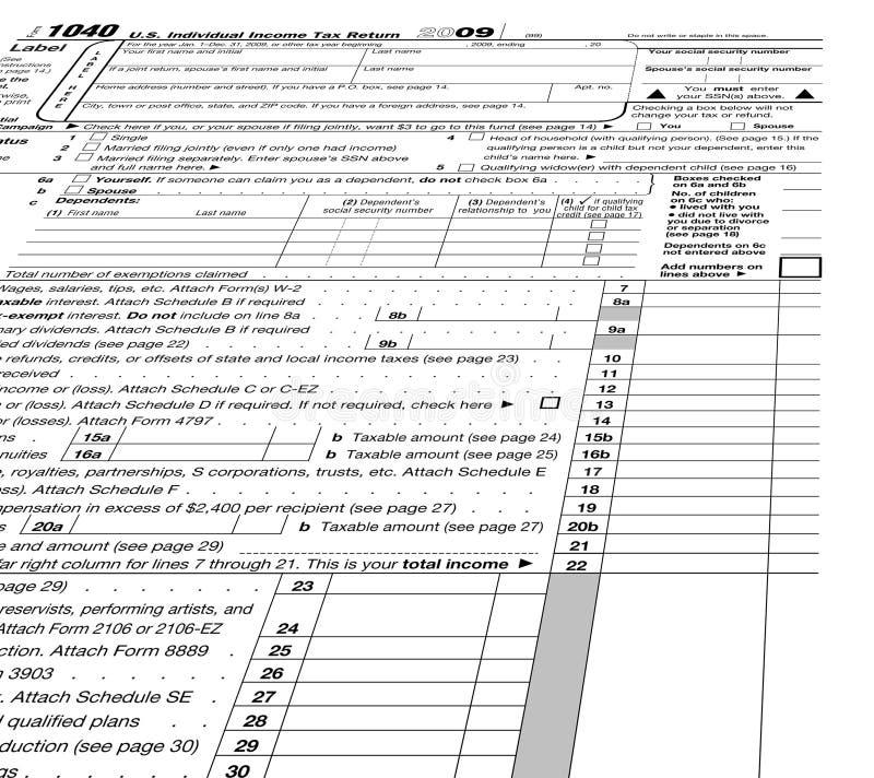 In bianco vuoto del modulo 1040, tasse, fotografia stock libera da diritti