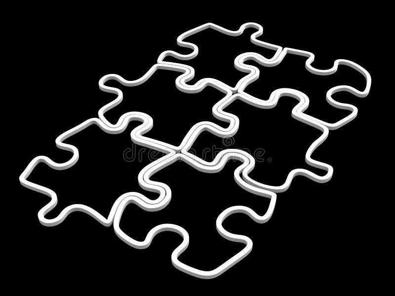 Bianco vuoto insieme di puzzle di quattro pezzi illustrazione vettoriale