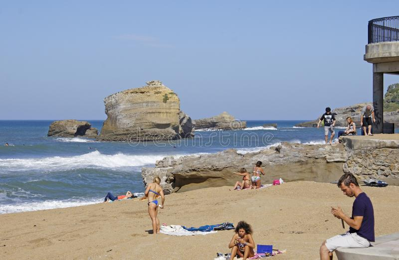 Biarritz beach France Europe 2019. People at the Beach in Biarritz, France - October 13, 2019 stock image