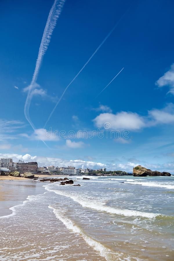 Biarritz city and its famous sand beaches - Miramar and La Grande Plage with ocean waves , Bay of Biscay, Atlantic coast, France. Biarritz city and its famous royalty free stock images