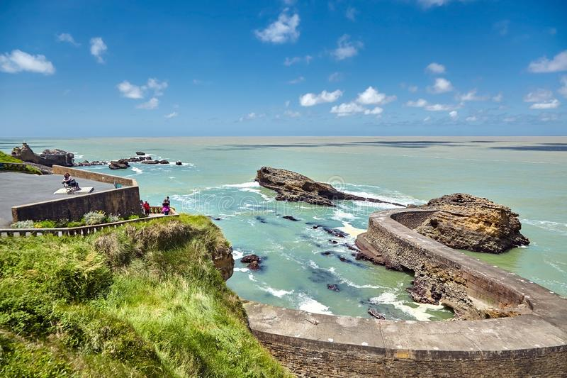 Biarritz city. Seascape, view of an old stone pier. Bay of Biscay, Atlantic coast, Basque country, France stock images