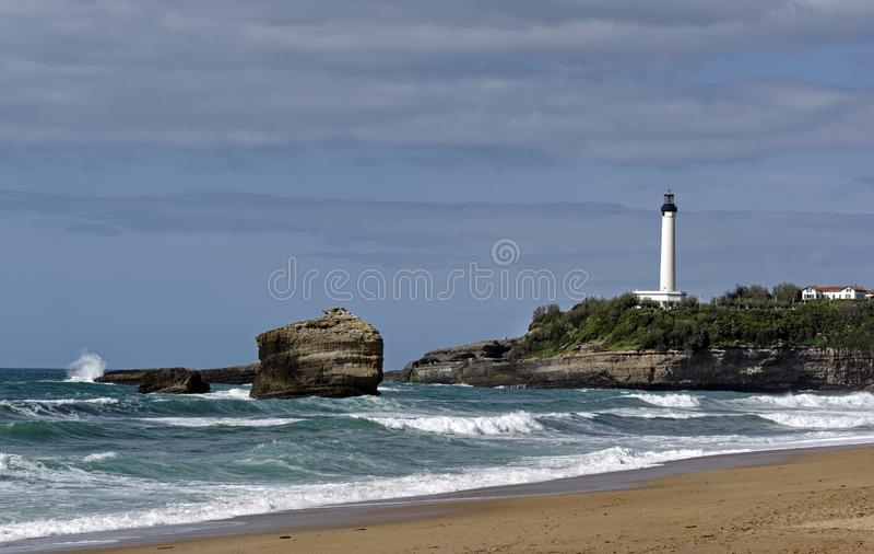 Biarritz fyr royaltyfri fotografi