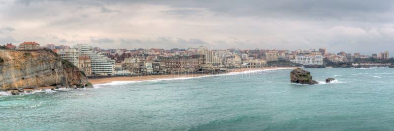Biarritz linii horyzontu panorama Francja obraz royalty free