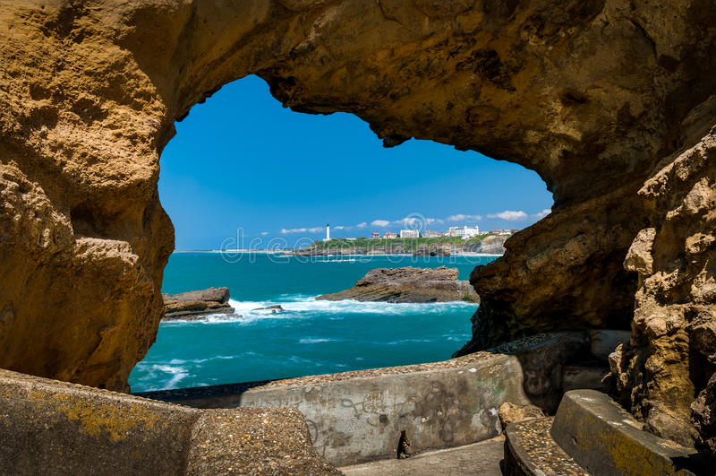 Biarritz - widok latarnia morska zdjęcie stock