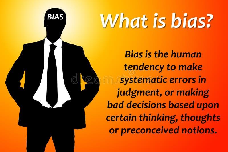 Bias. Explaining bias in economy, decision making, psychology and sociology stock illustration