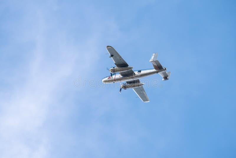 BIAS toont de internationale lucht van Boekarest, NOORDAMERIKAANS B-25J vliegend de stierenteam van ` MITCHELL ` stock fotografie