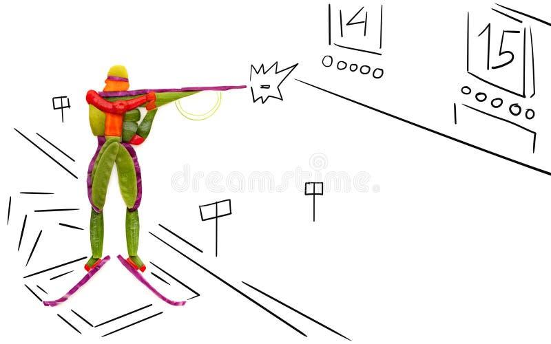 Biathlete de tir. illustration de vecteur