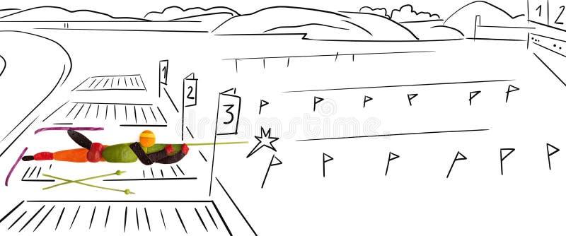 Biathlete en position encline. illustration de vecteur