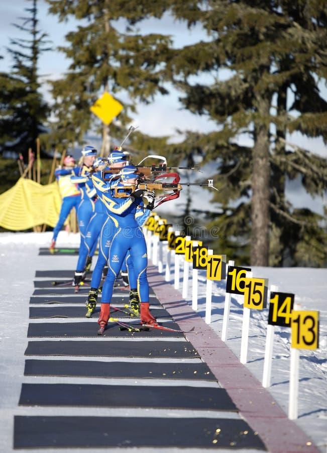 biathlon royaltyfria bilder