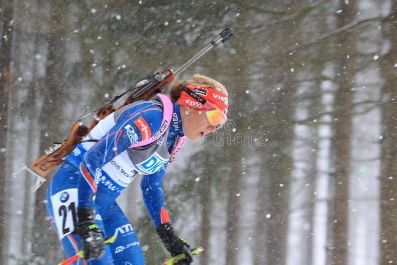Biathlon - detalj av Gabriela Soukalova arkivbild