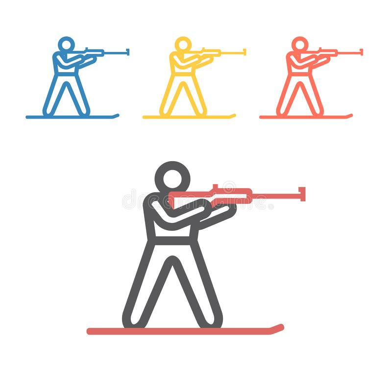 Biathlon line icon. Winter game. Vector signs for web graphics stock photography