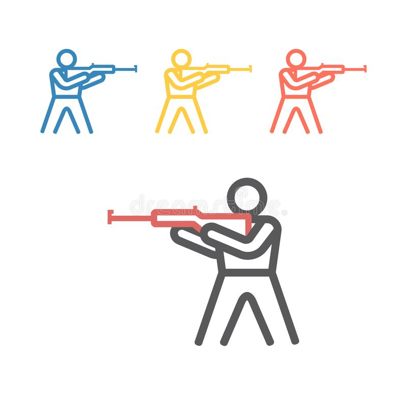 Biathlon line icon. Winter game. Vector signs for web graphics royalty free stock photo