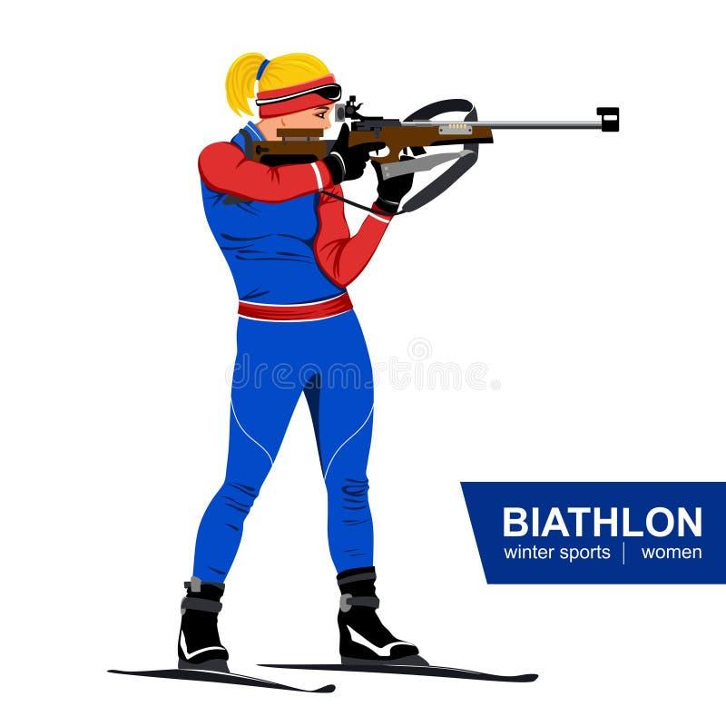 Biathlon, mujeres, colocación que tira Ilustración del vector Azul, tarjeta, huésped, embarque, ejercicio, extremo, diversión, co ilustración del vector