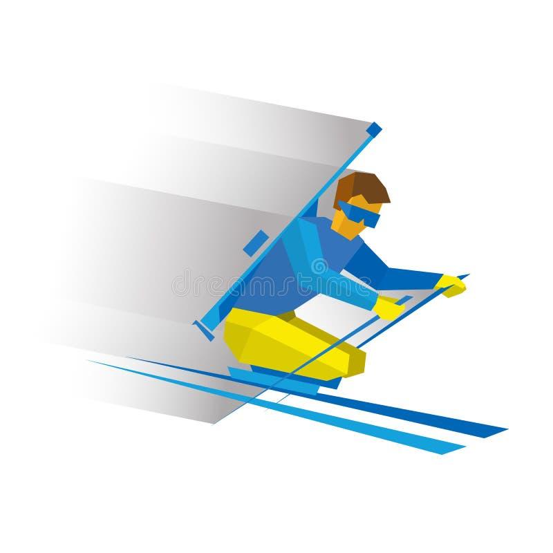 Biathlon para atletas com uma inabilidade Esquiador deficiente ilustração royalty free