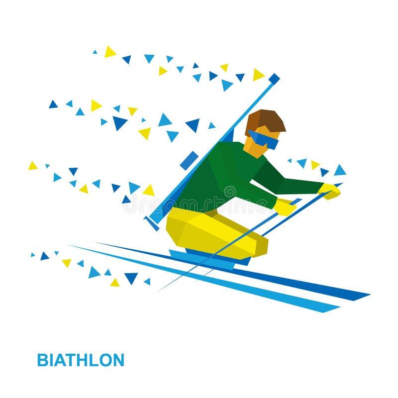 Biathlon per gli atleti con un'inabilità Sciatore disabile illustrazione vettoriale