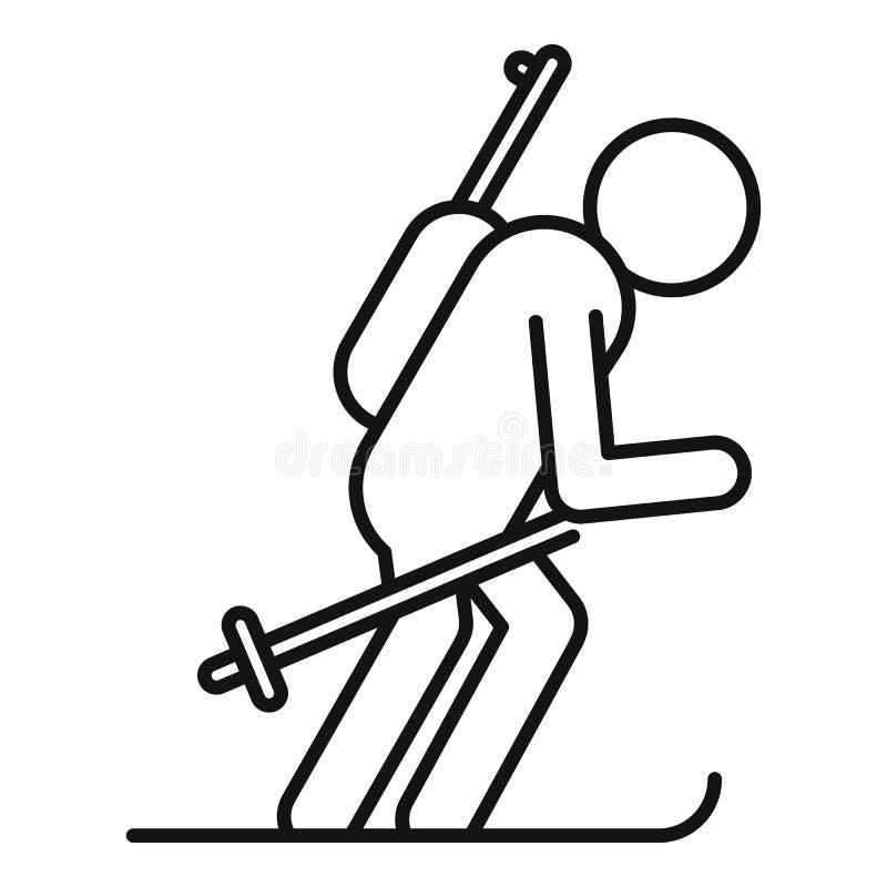 Biathlon skiing icon, outline style. Biathlon skiing icon. Outline biathlon skiing vector icon for web design isolated on white background royalty free illustration