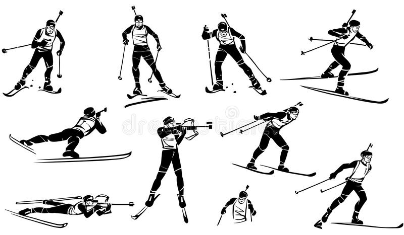 biathlon Un ensemble de biathlonists d'athlètes illustration de vecteur