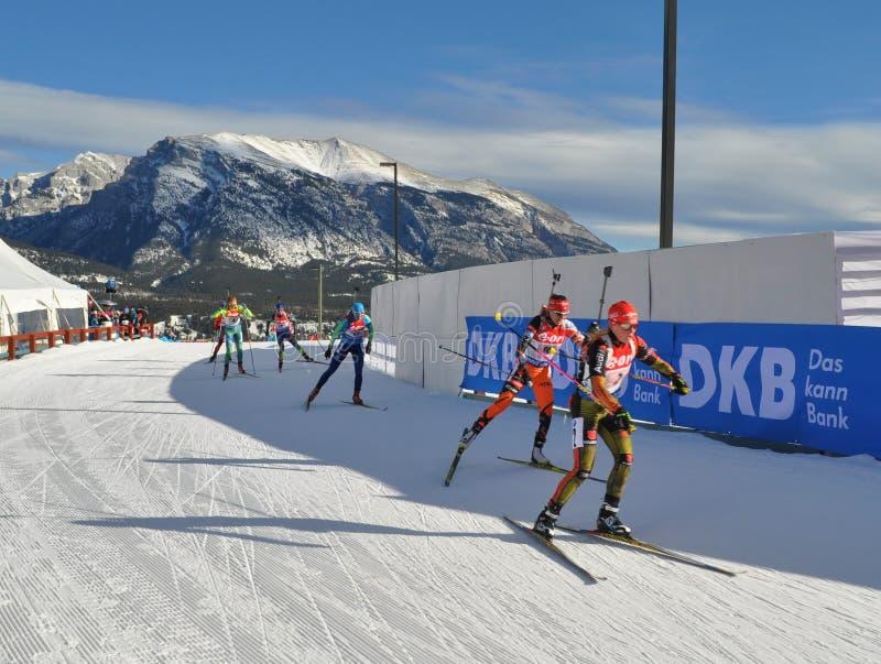 Biathlon World Cup 2016. Canada, Canmore - German women biathlonist leads stock photography