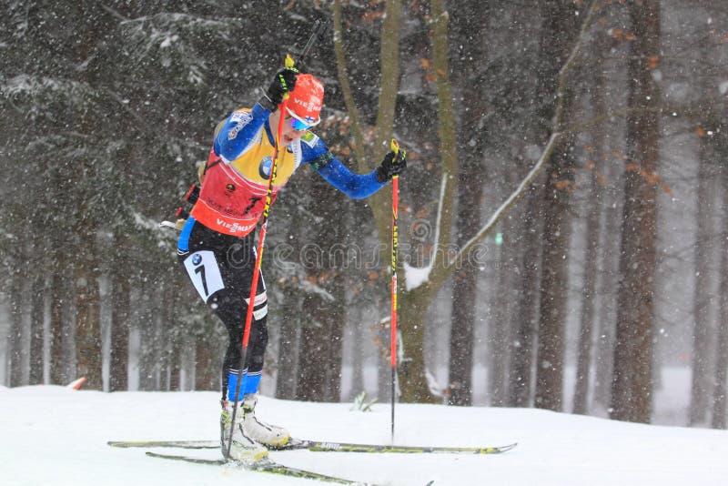 Biathlon world cup leader - Kaisa Makarainen. Biathlon world cup leader, Kaisa Makarainen from Finland, in women 10 km pursuit race within biathlon world cup stock images