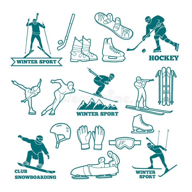 Biathlonen släde, skidar och andra illustrationer för monokrom för vintersportar Symboler för etiketter och logodesign stock illustrationer