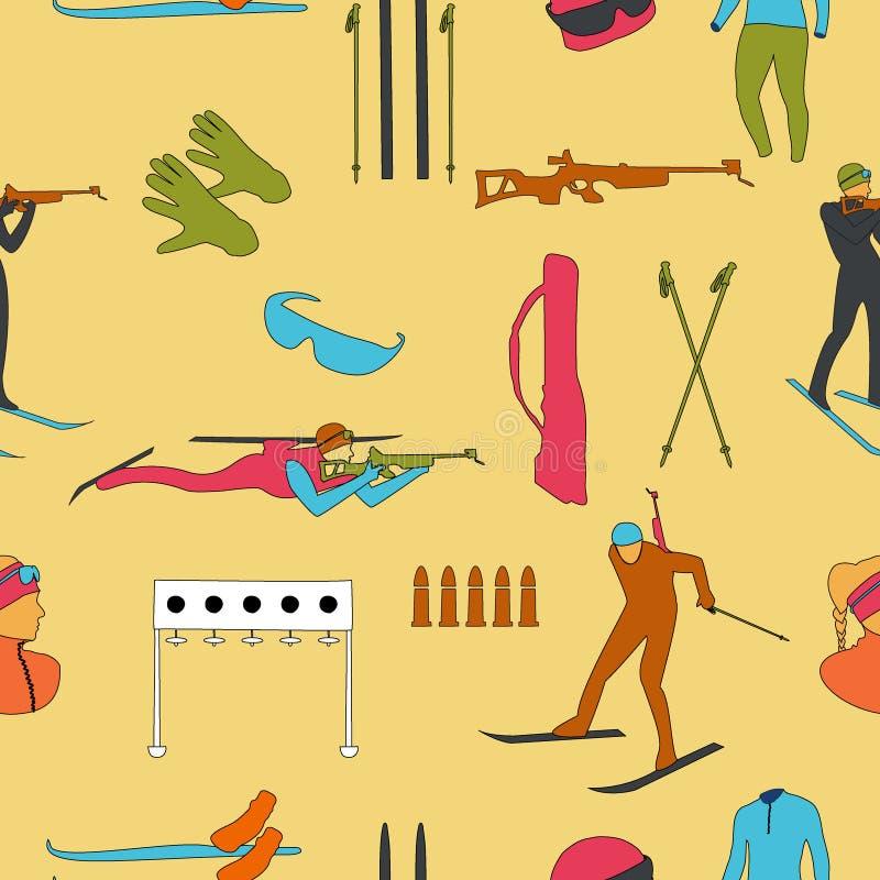 Biathlonfärgmodell på beige bakgrund royaltyfri illustrationer