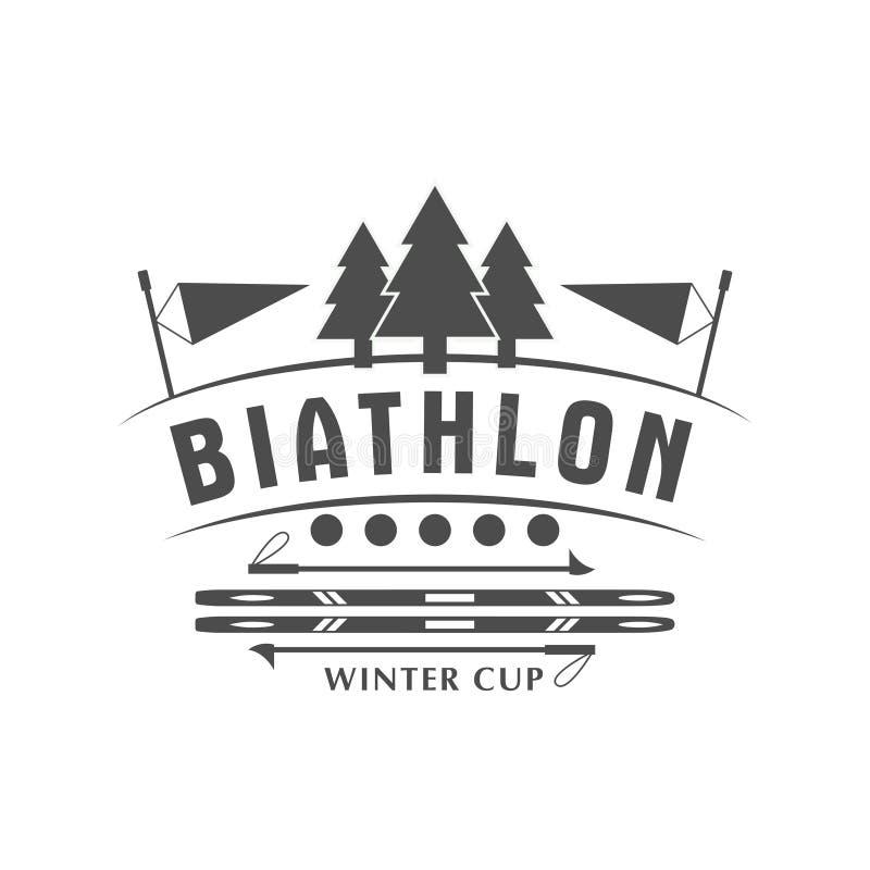 Biathlonlogoemblem också vektor för coreldrawillustration Isolerat emblem för vintersport för design vektor illustrationer