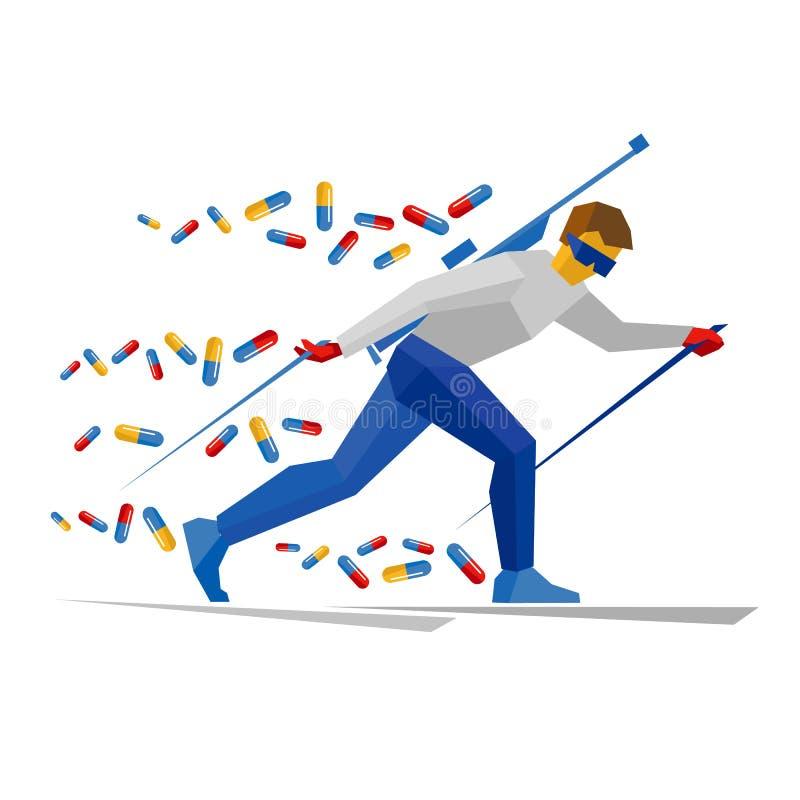 Biathlonspeler met het smeren van pillen royalty-vrije illustratie