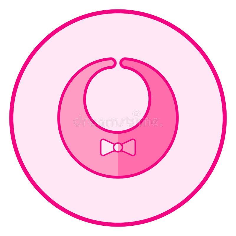 bib Roze babypictogram op een witte achtergrond royalty-vrije illustratie