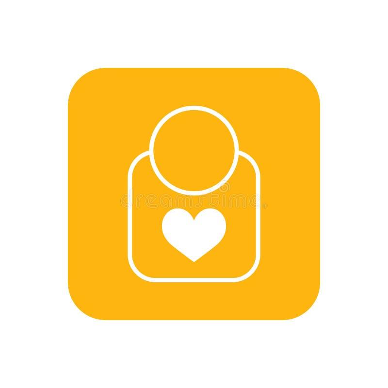bib Vlak kleurenpictogram Babypunten voor pasgeborenen Illustratie royalty-vrije illustratie