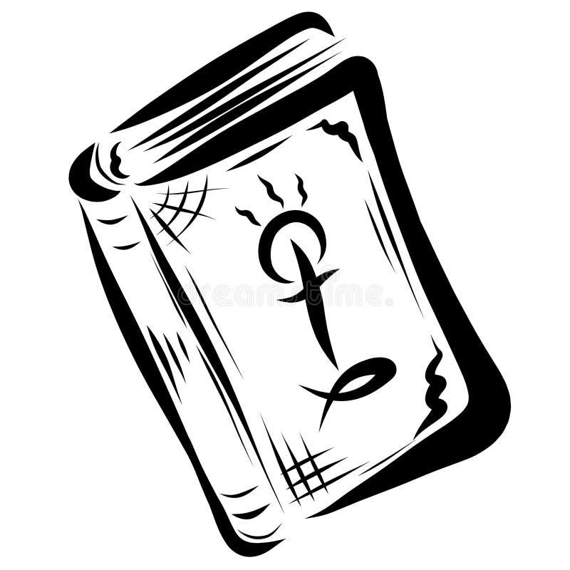 Bibbia chiusa con un incrocio, un sole con tre raggi e un pesce sulla t illustrazione di stock