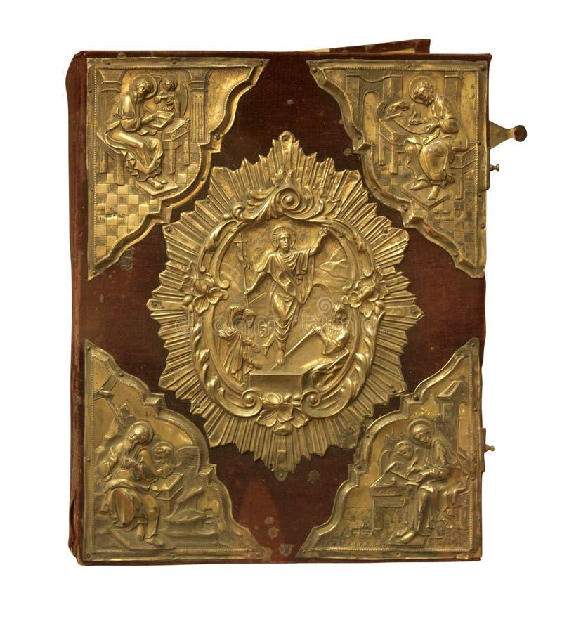 Bibbia d'annata antica isolata sopra bianco immagini stock libere da diritti