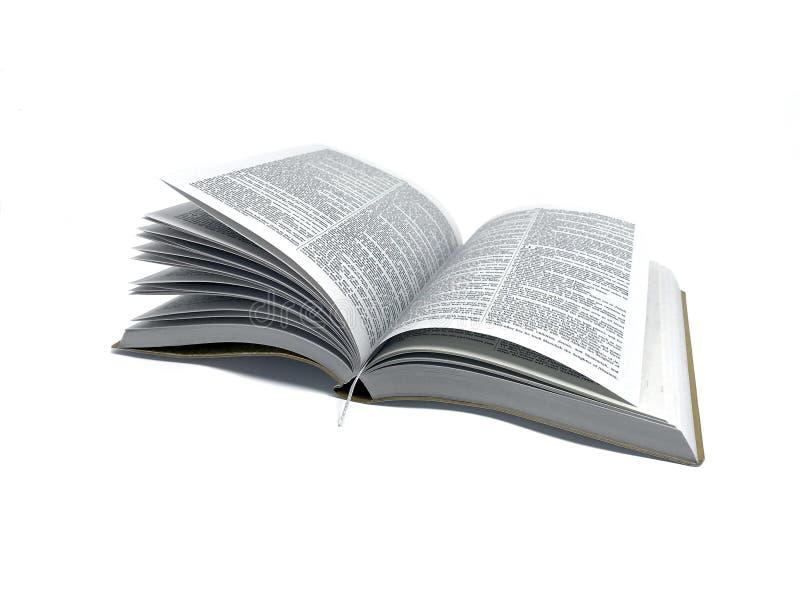 Bibbia del libro aperto in foto bianca del fondo immagini stock