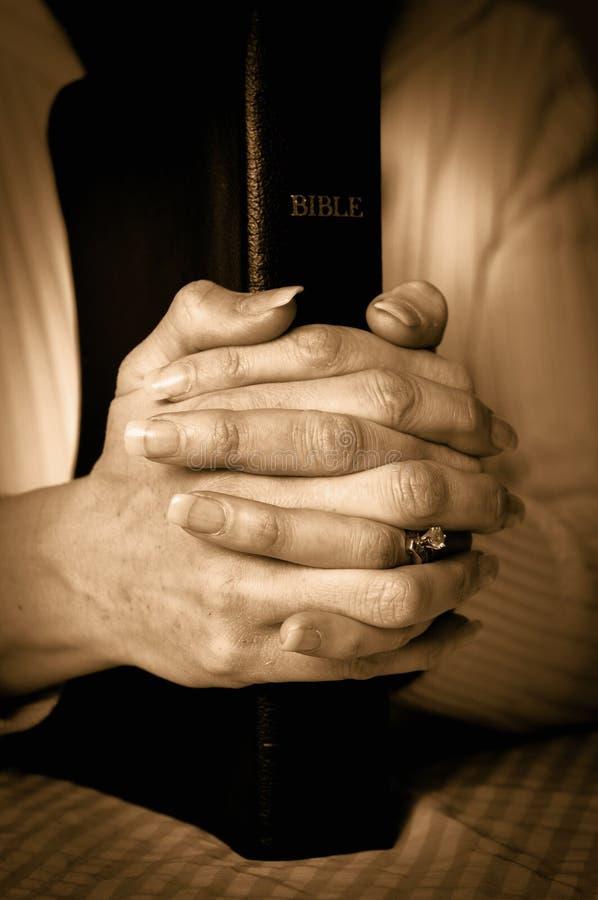 Bibbia e mani immagini stock
