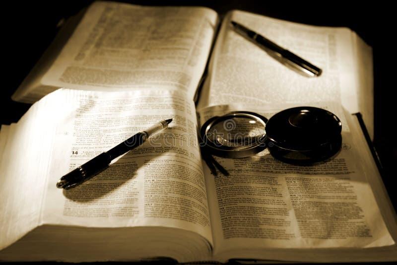 Bibbie con le penne per lo studio (seppia) immagini stock