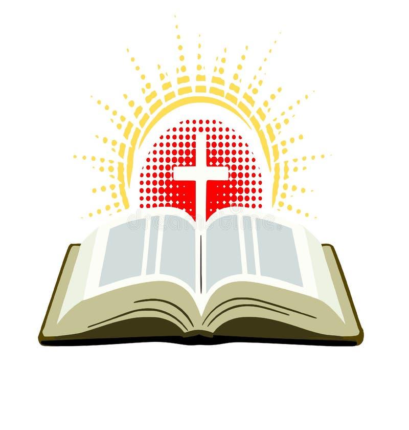 Bibel mit Kreuz und Strahlen des Lichtes stock abbildung