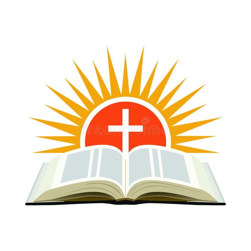 Bibel, solnedgång och kors Kyrkligt logobegrepp Isolerat på vit stock illustrationer