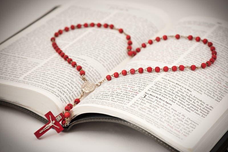 Bibel und Rosenbeet stockfoto