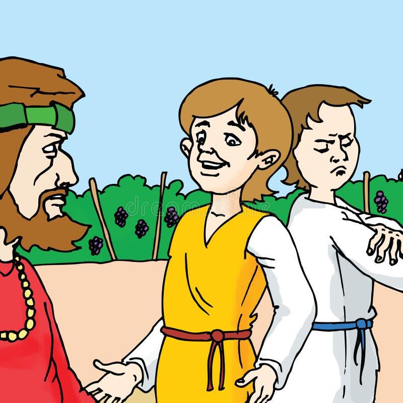 Bibelberättelser - parabeln av de två sonsna royaltyfri illustrationer