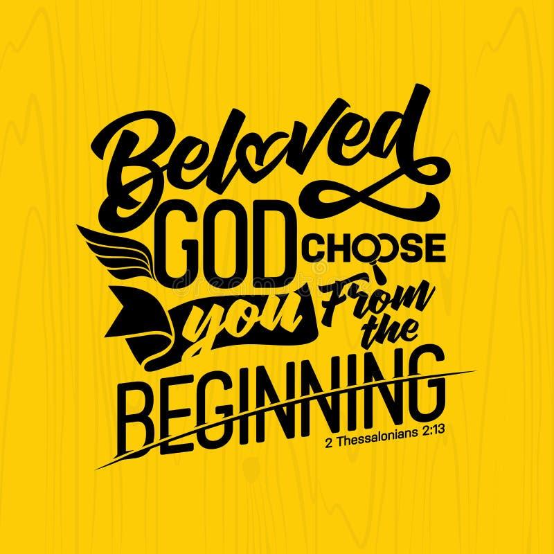 Bibelbokstäver Kristen konst Den älskade guden väljer dig från början stock illustrationer