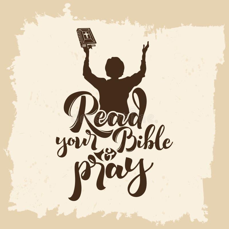 Bibelbokstäver Kristen konst Läs din bibel och be vektor illustrationer