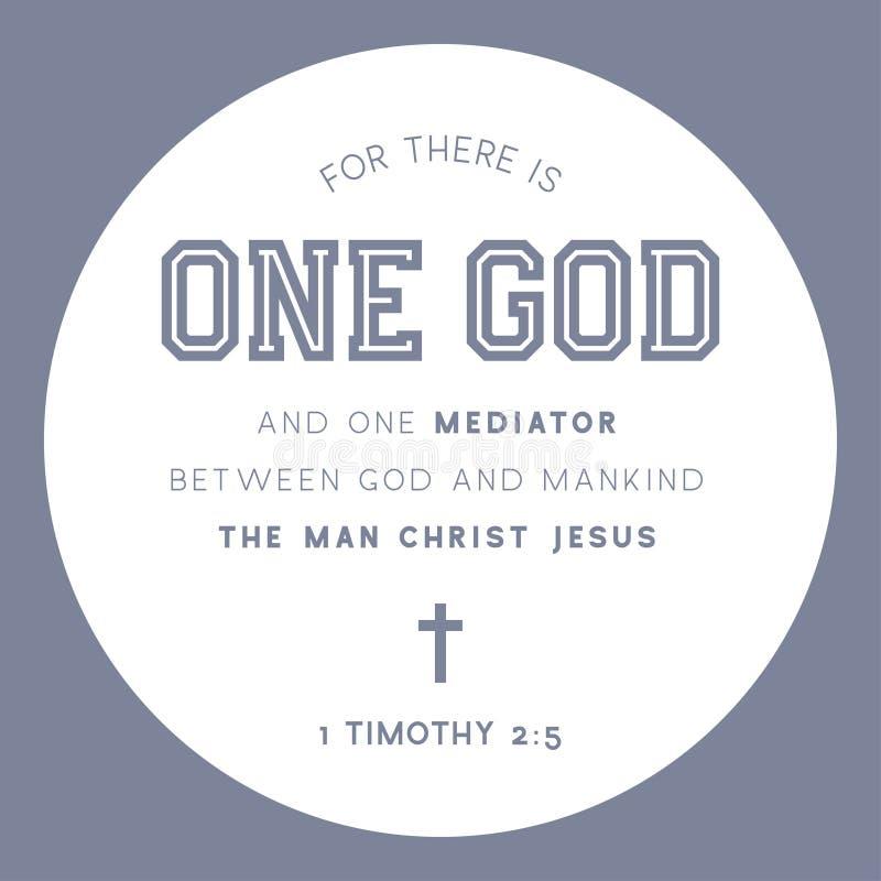 Bibelcitationstecknet, för där är en gud och en medlare mellan guden och mänskligheten mannen christ jesus stock illustrationer