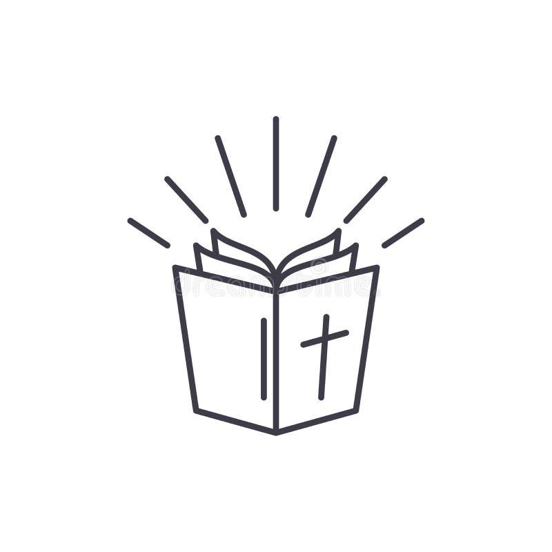 Bibellinie Ikonenkonzept Lineare Illustration des Bibelvektors, Symbol, Zeichen stock abbildung