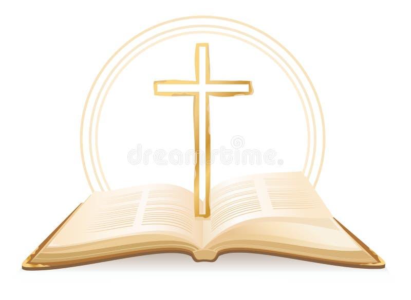 Bibeln och korsar royaltyfri illustrationer