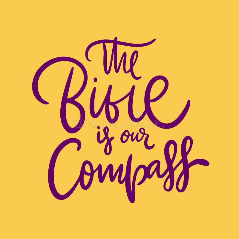 Bibeln ?r v?r drog kompasshand m?rka citationstecken vektor illustrationer