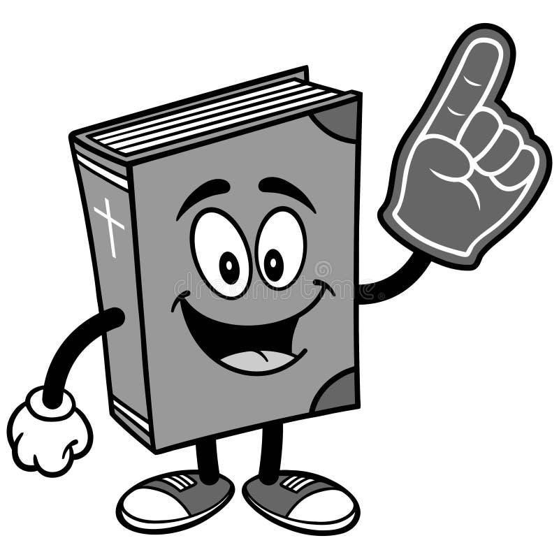 Bibelskolamaskot med skumfingerillustrationen vektor illustrationer